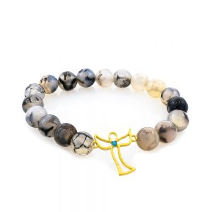Angel agate bracelet with golden tag