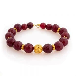 Bracelet in Red Agate with Gold