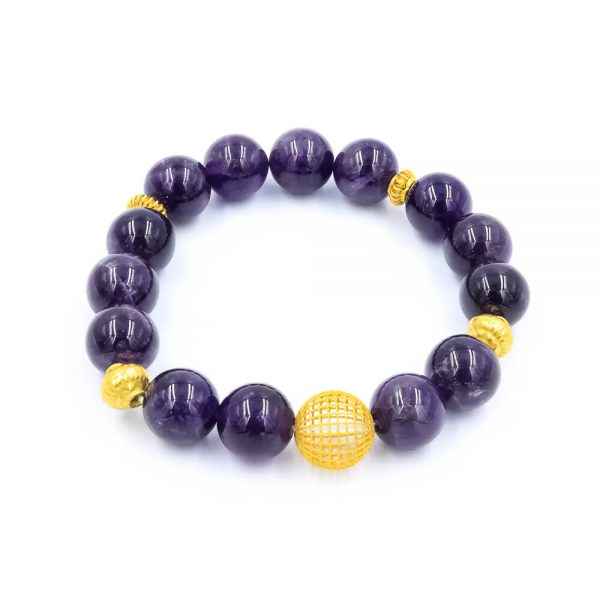 Amethyst bracelet with gold beads