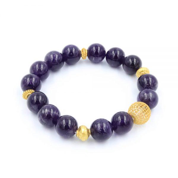 Amethyst bracelet with gold