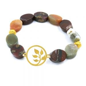 Agate bracelet with 18k gold beads