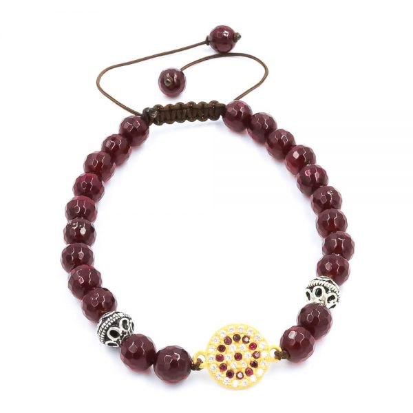 Ruby red agate bracelet with gold