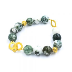 Green and white agate bracelet