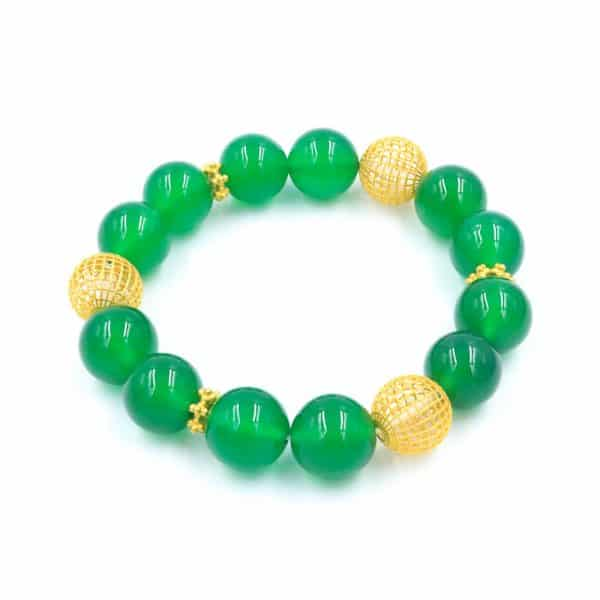 Green agate bracelet with gold beads