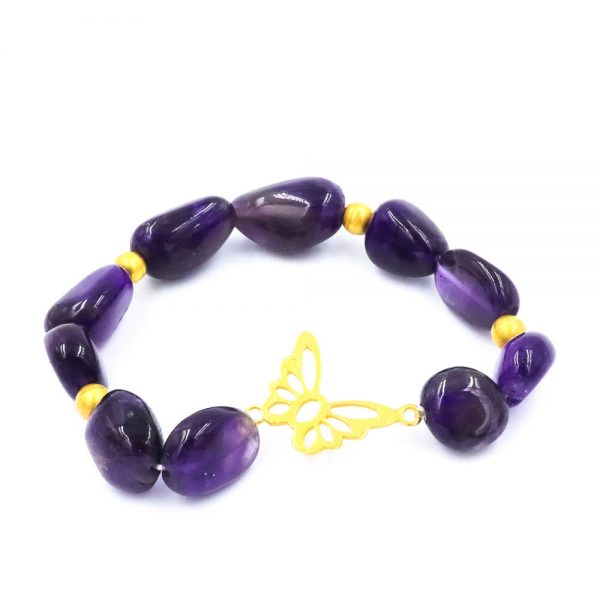 Amethyst Bracelet with Butterflie Design