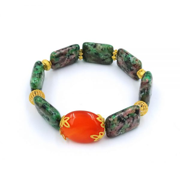 Jasper bracelet with gold beads