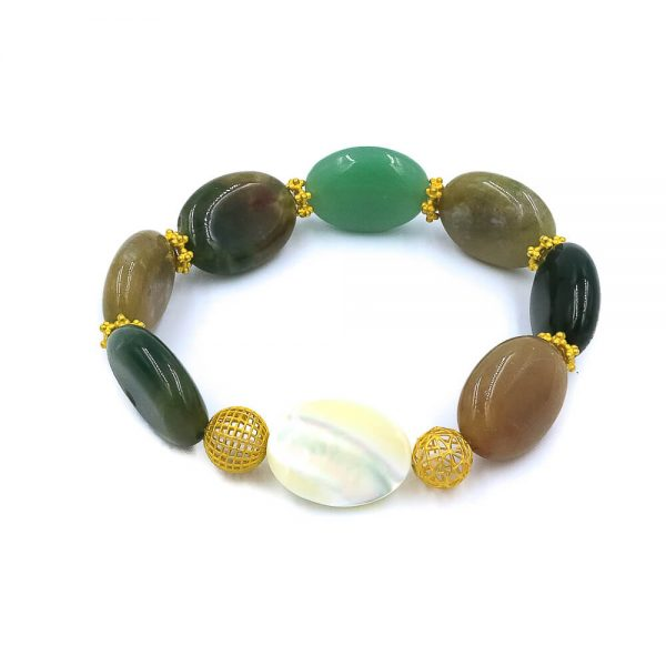 The Seashell jade bracelet with 18k gold