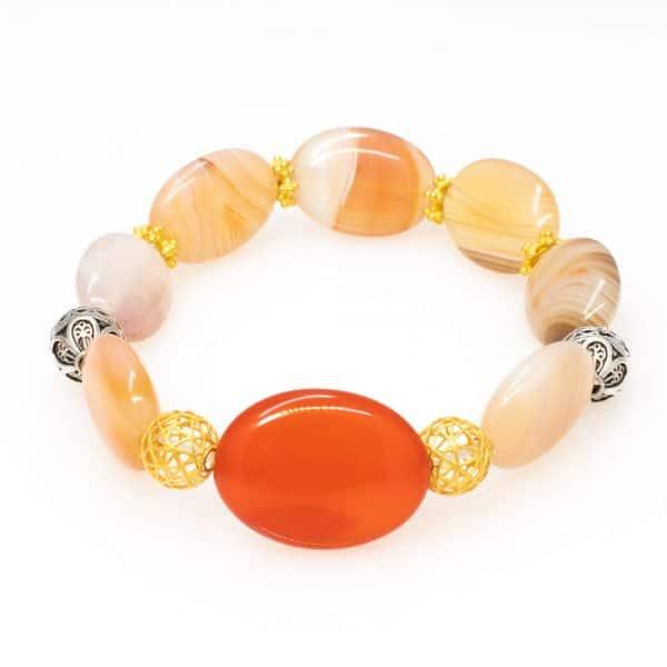 Bracelet in orange agate stones