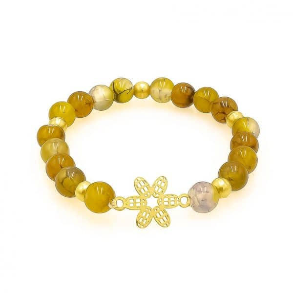 The sunrise agate bracelet with gold