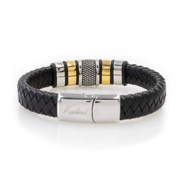 Wide charm leather bracelet