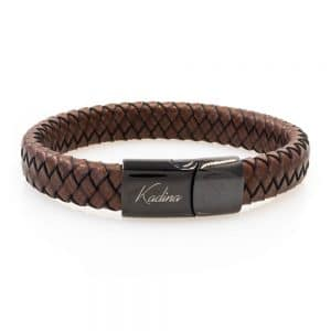Wide braided leather bracelet