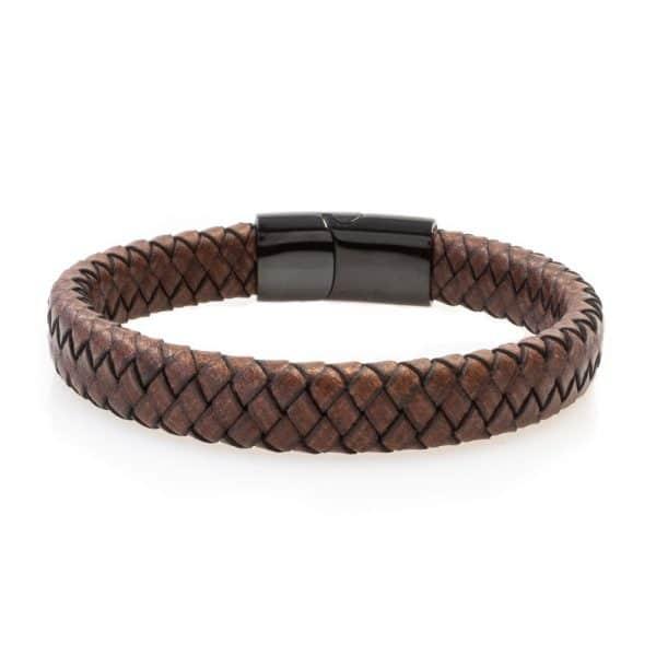 Wide brown leather bracelet