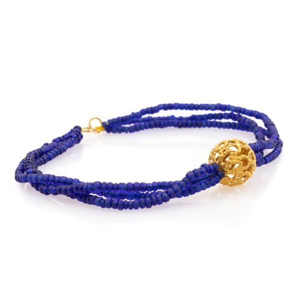 Bracelet in Lapis Lazuli Stones with Gold