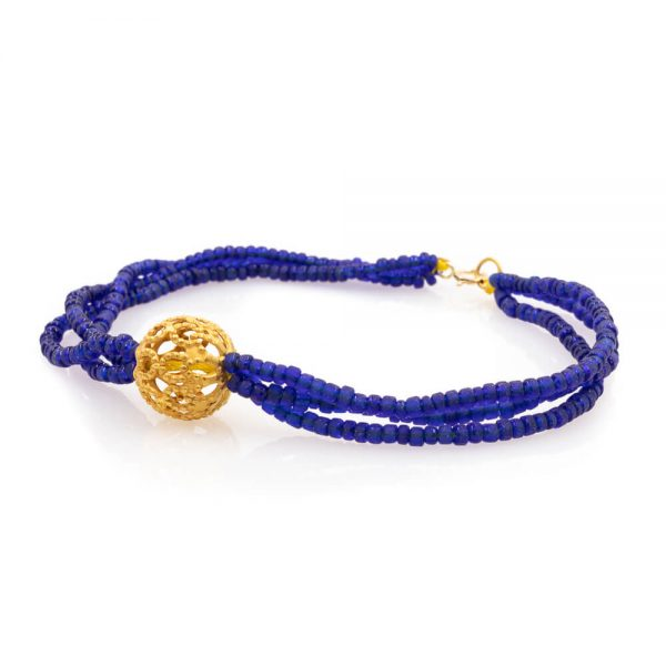 Bracelet in Lapis Lazuli Stones with Gold beads