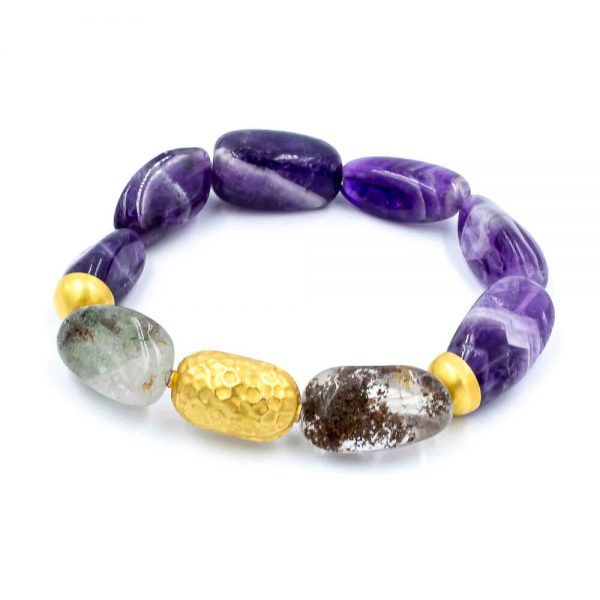 Bracelet in Amethyst and Agate with 18K Gold