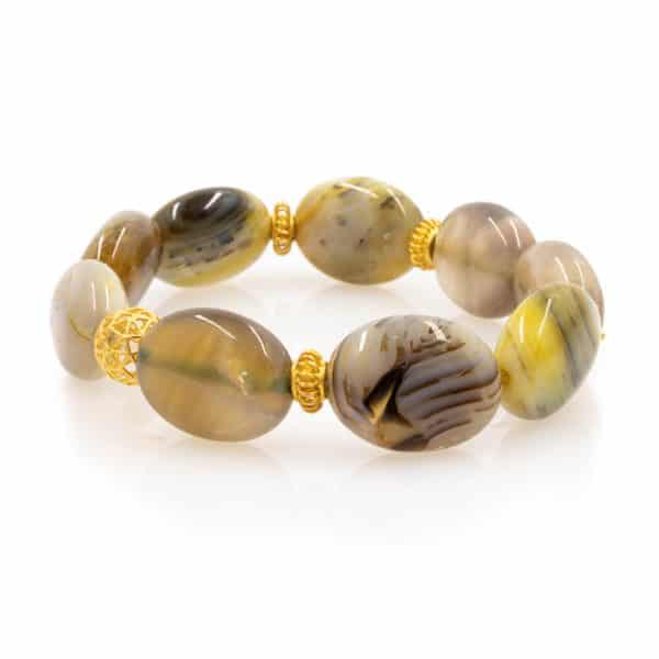 Bracelet in Smokey Agate Stones with 18K Gold