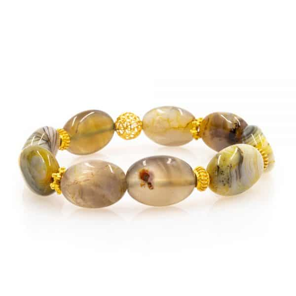 Bracelet in Smokey Agate Stones with 18K Gold beads