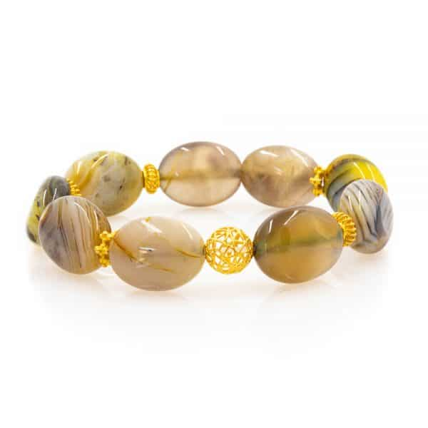 Bracelet in yellow Agate Stones with Gold