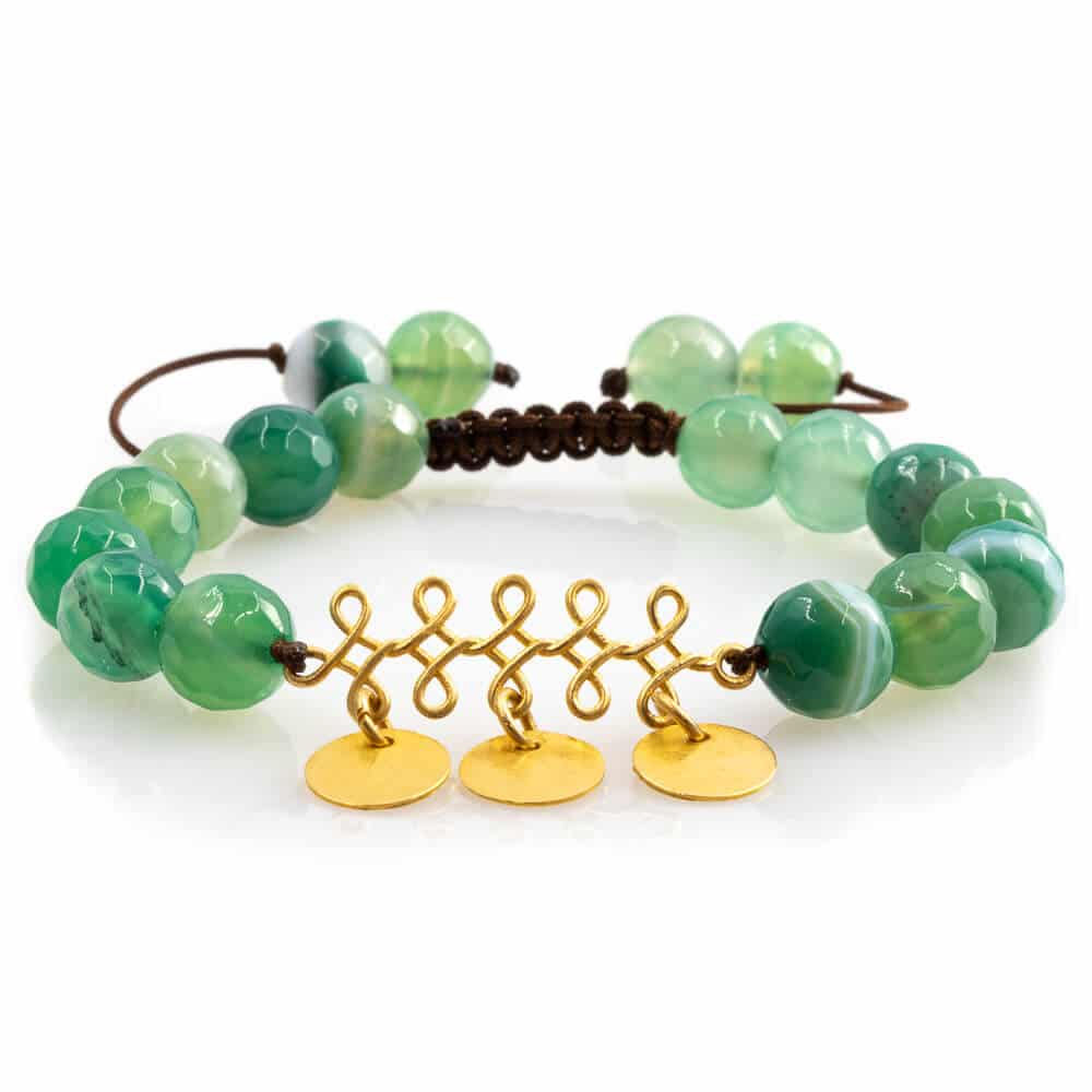 Arabesque design Bracelet in Green Agate with 18K Gold