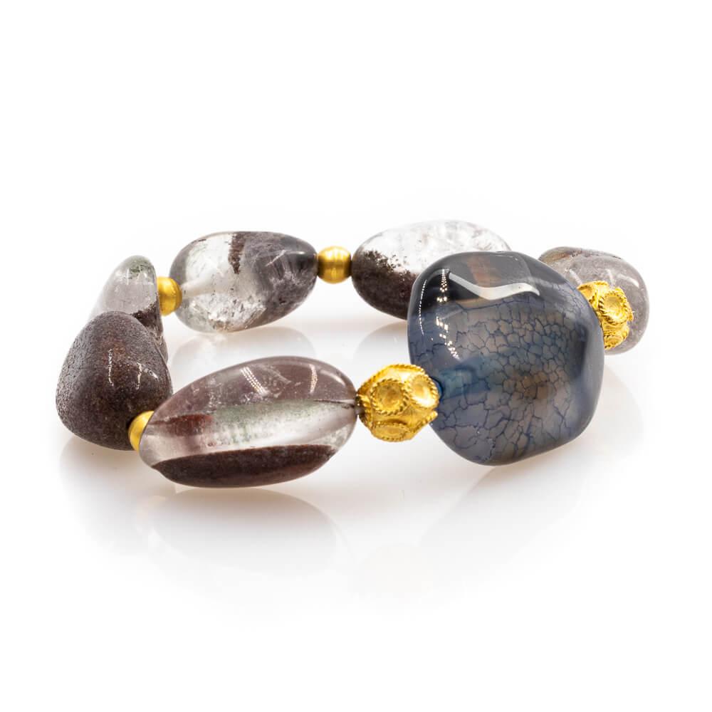 Bracelet in Quartz Stones with 18K Gold