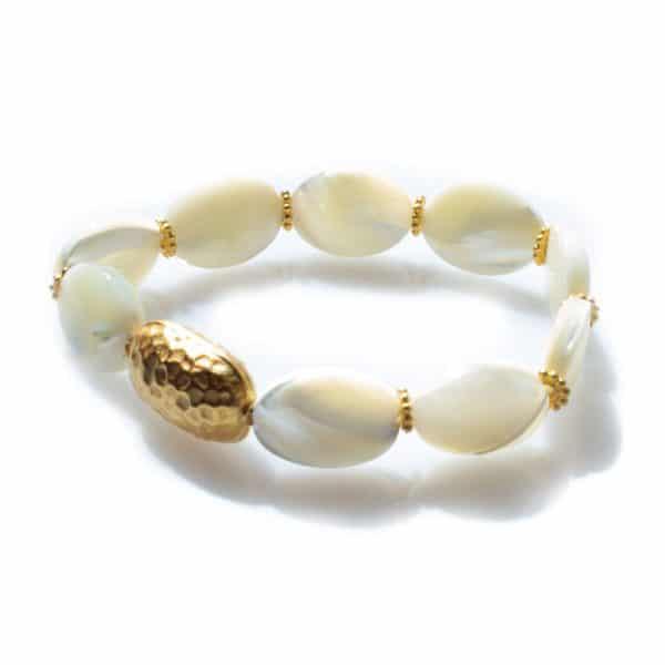 White stone and 18k Gold Shell Bracelet