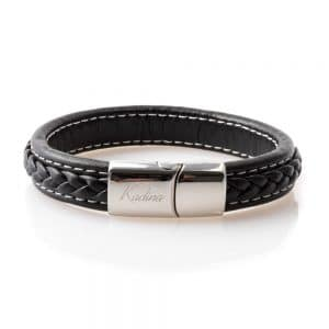 Black braided leather bracelet for men
