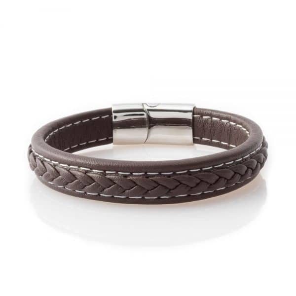 Empower brown leather Bracelet mens