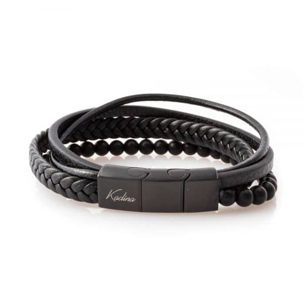 Leather bracelet with stone