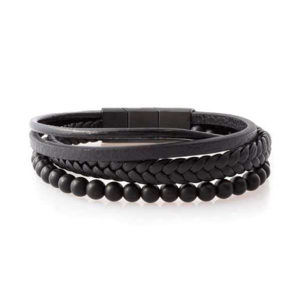 Three-strap charm bracelet for men