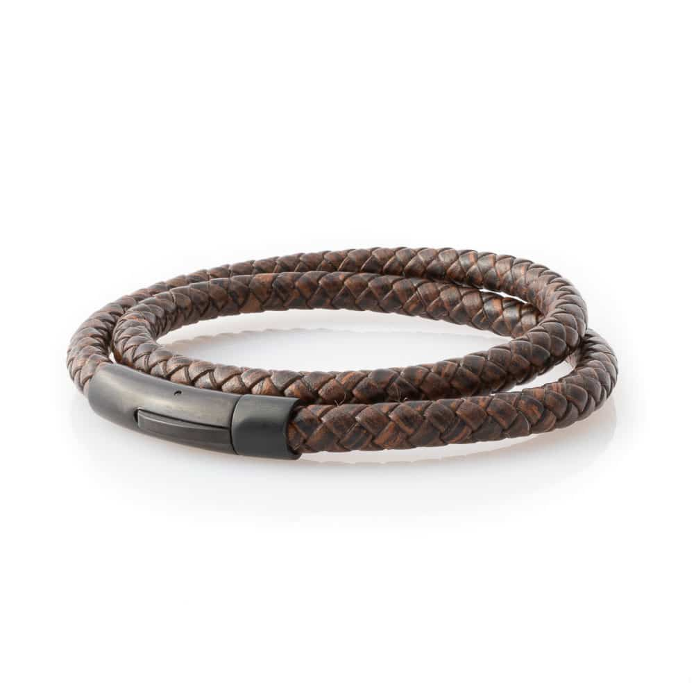 comfort shaped brown leather Bracelet mens