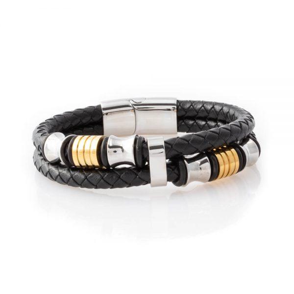 Black leather bracelet with luxury design