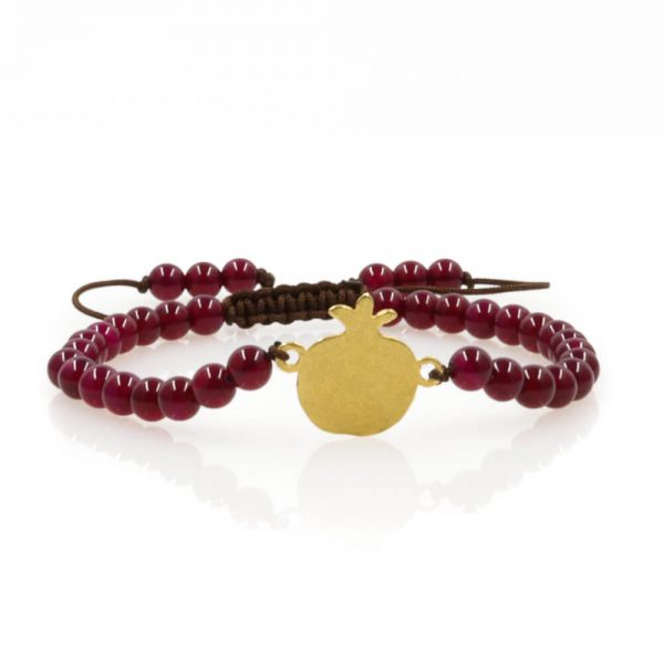 Pomegranate design Bracelet with red Agate