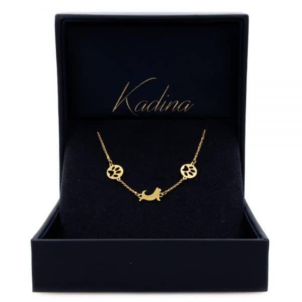 Cat Design Bracelet with 18 K Gold