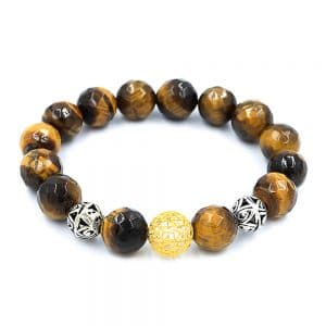 Bracelet in tiger eyes with gold and silver