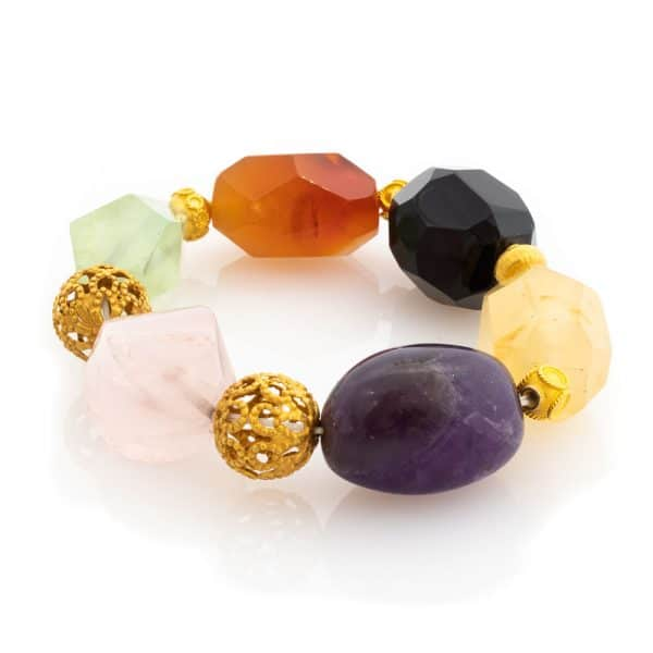 Healing Stone Bracelet in Multicolor Stones with 18K Gold
