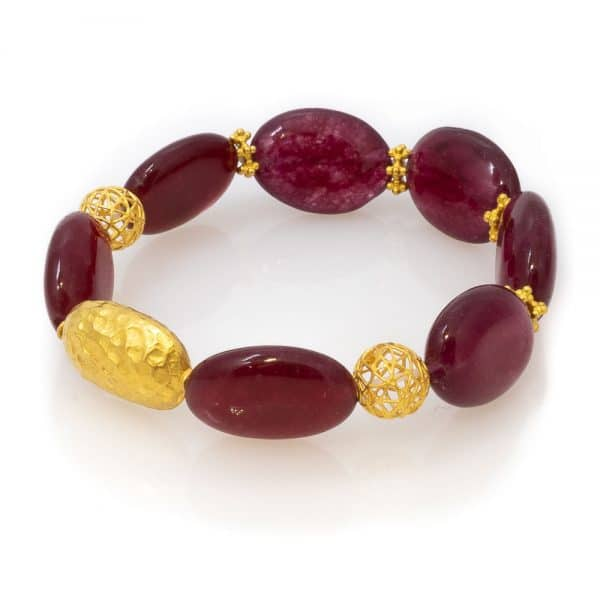 cool Bracelet in Agate with 18K Gold