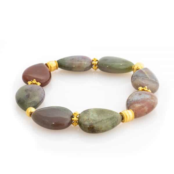 Agate Bracelet in Shades of Green with real Gold
