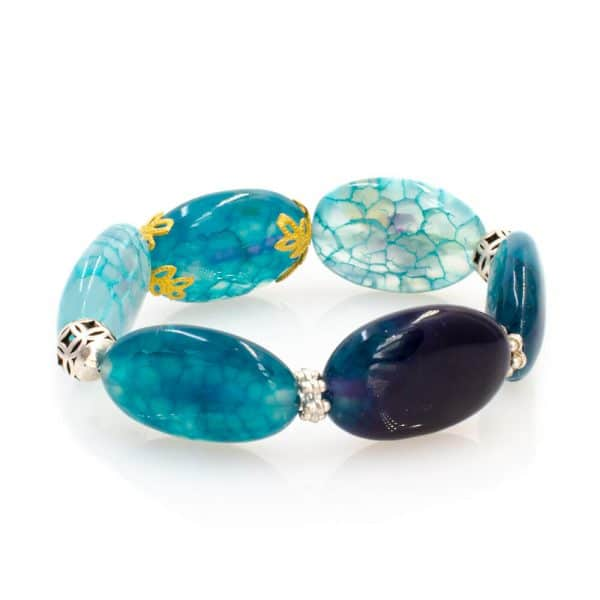 Agate Stones Bracelet in Aqua Color and Silver Balls with an 18 K Gold