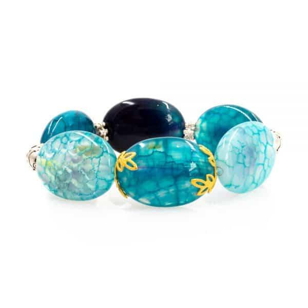 Agate Stones Bracelet in Aqua Color