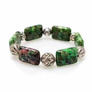 Bracelet in Green Jasper Stones with Silver