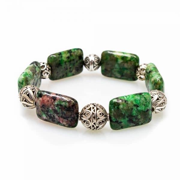 Bracelet in Green Jasper Stones with Silver