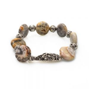 Fish Design Bracelet in Agate with Silver