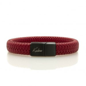 Red Leather Bracelet with Steel