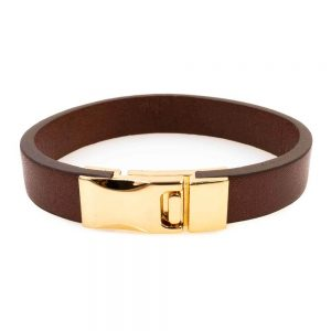 Brown wide leather bracelet