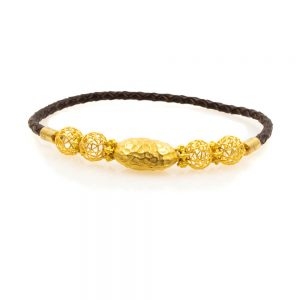 Leather Bracelet with Gold