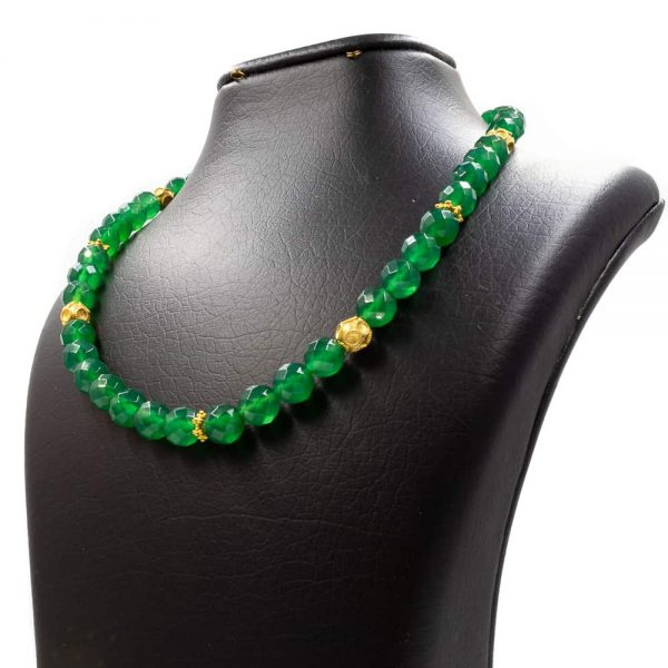Green agate stone necklace 2