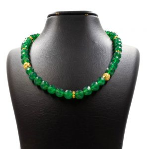 Green agate stone necklace 1