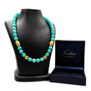 Aqua Marine Necklace with 18 K Gold 2