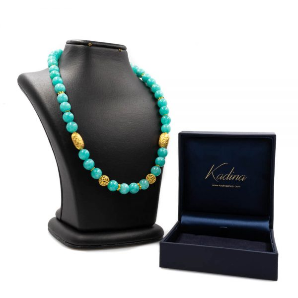 Aqua Marine Necklace with 18 K Gold 1