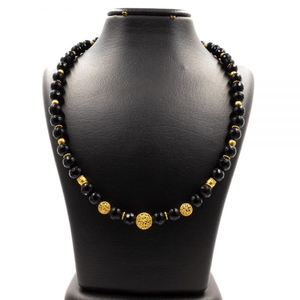 Onyx Necklace with Gold 1